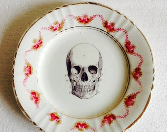 Pink rose flowery garlands - Black Skull plate - Bone China plate for Wall Display - Reid China - Made in England