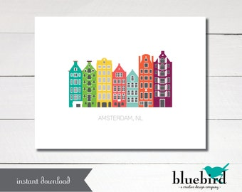 AMSTERDAM Netherlands famous canal houses city poster size 11x17 - Instant Download Printable