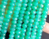 14' Gorgeous Beautiful Full Transparent  Green Onyx Faceted Roundelle Beads Huge Size 8MM Wholesale Price