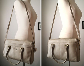 Vintage 80s Leather Taupe Liz Claiborne Large Shoulder Bag Satchel Convertible New Old Stock