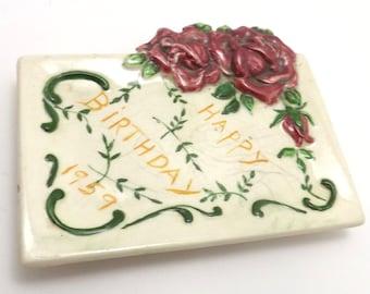 1959 handmade happy birthday trinket dish, roses