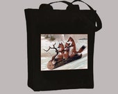 Foxes on Log Sled Vintage Image BLACK or NATURAL Canvas Tote -  Selection of sizes available