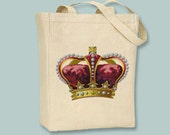 Vintage Red Royal Ornate Crown Canvas Tote with shoulder strap - Selection of sizes available