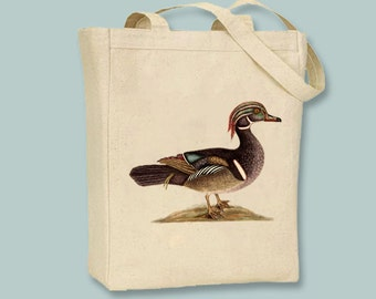 Vintage Summer Duck Illustration on Canvas Tote -- Selection of size available