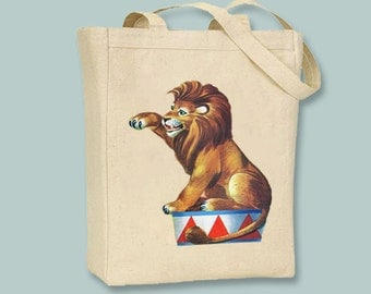 Vintage Circus Lion Canvas Tote -- Selection of sizes available
