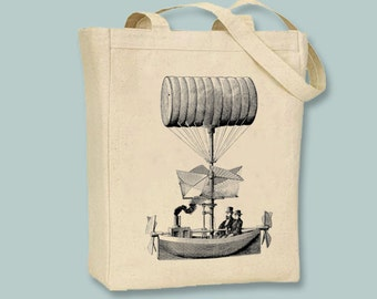 Steampunk Vintage Airship Image on Canvas Tote -- Selection of  sizes available, ANY IMAGE COLOR
