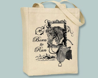 Vintage Horse Born To Run Illustration Canvas Tote-- Selection of sizes available, ANY IMAGE COLOR