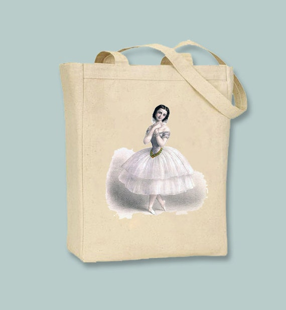 Beautiful Vintage Ballerina image transferred onto Canvas Tote -- Selection of sizes available