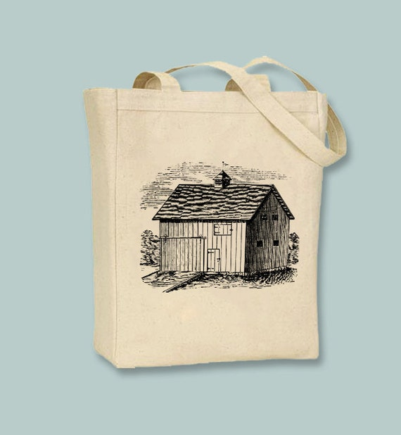 Old Barn Vintage Illustraion Canvas Tote -- Selection of  sizes and ANY IMAGE COLOR available