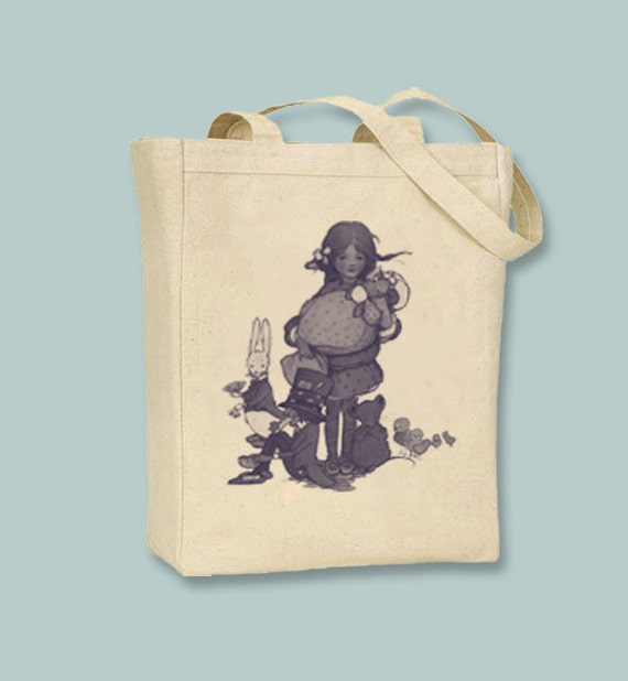 Alice in Wonderland Atwell Illustration on Canvas Tote - Selection of  sizes ANY IMAGE COLOR
