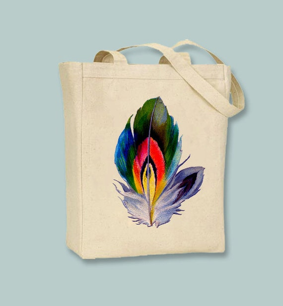 Vintage Vibrant Feather Image on Natural or Black Tote -- Selection of sizes available