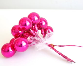 Vintage Christmas Decoration Glass Ball Ornament Picks - Shabby Chic