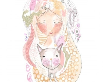 Girl Cat Print Illustration Giclee Whimsical Home Decor by Coramantic