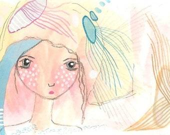ACEO original painting, strange girl drawing, gouache art