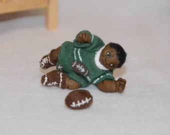 Dollhouse Baby Doll - 1/12 Scale Boy - Black/African American - Handmade OOAK Polymer Clay - Moveable Arms and Legs - Dimitri Christopher