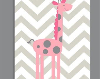 Giraffe and Chevron, Nursery Print, Giraffe Nursery Decor- Print