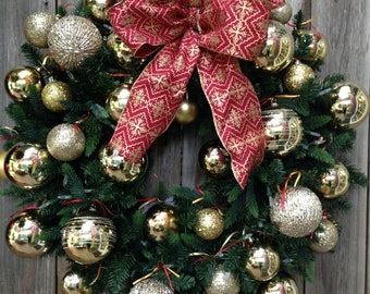 Christmas Wreath-Winter Door Wreath-Winter Decor-Winter Wreath-Holiday Door Wreath-Holiday Decoration-Holiday Decor-Evergreen Wreath