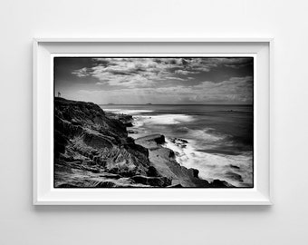 San Diego Black and White California Beach Photography - Mexico Coronado Islands From Point Loma - Small and Large Art Prints Available