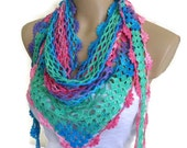 Crocheted Multi Color Lace Scarf ,Holiday Accessories, fashion, 2014, Mothers day, scarves, winter trends
