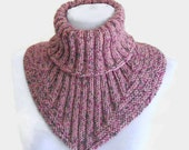 Men, women scarf, cowl, neck warmer, knit collar, soft, hand knit, unisex, Tweed pink