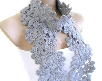 Ready to ship Crocheted Gray, Lace Neckwarmer,fashion,autumn,Holiday Accessories,Christmas,Halloween,gift