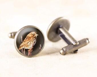 Sparrow Bird Cufflinks - Bronze Cufflinks Men, Bronze Bird Jewelry Cufflinks, Bird Photography Cufflinks, Sparrow Jewelry, Bird Cuff Links