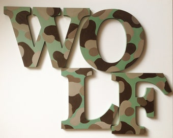 Camouflage Wooden Wall Name Letters / Hangings, Hand Painted for Boys Rooms, Play Rooms and Nursery Rooms
