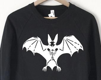 Bat Skeleton Sweatshirt - Made in USA by So Effing Cute