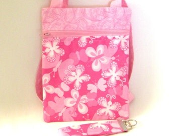 Pink Crossbody Bag, Butterfly Purse, Key Fob, Handmade Travel Bag, Zipper Purse, Hipster Purse, Shoulder Bag, Long Strap