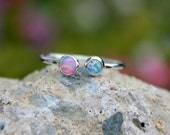 Adjustable Opal Stacking ring ~ Opal ring - STERLING SILVER Opal RING - Adjustable Gemstone Ring