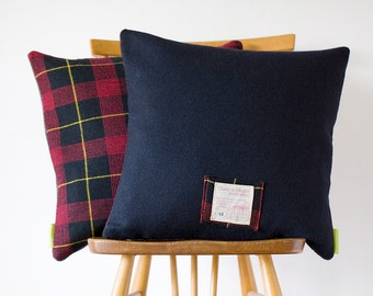 Navy Blue Pillow, Plaid Pillow Navy Wool Tartan Cushion, Unusual Gift For Him, Gifts For Men, Boyfriend Gift, Vintage 1960s Gannex Yorkshire