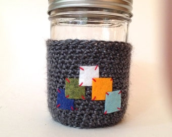 Crochet Mason Jar Cozy -- Charcoal Graphic Design