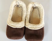 Handcrafted Womens Sherpa Loafers - Brown Sherpa Slippers - Cozy Fabric Slippers - Womens House Shoes - Womens Size 10 - Gift for Her