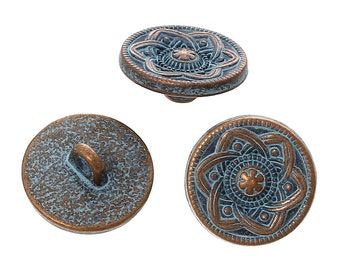 "10 Copper Shank Buttons, flower pattern, 15mm (5/8"") diameter, antiqued with a BLUE paint wash, shabby chic but0195"