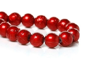 50 BRIGHT RED Metallic Drizzle Glass Beads, Round, 8mm bgl0995