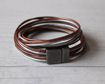 Leather Bracelet / Wrap Bracelet / Brown Silver Gray Copper Beige