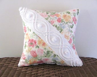 SUNSHINE ROSES 14 X 14 inches, pink roses pillow cover, cottage chic chenille cushion, shabby style throw pillow case, yellow floral pillow
