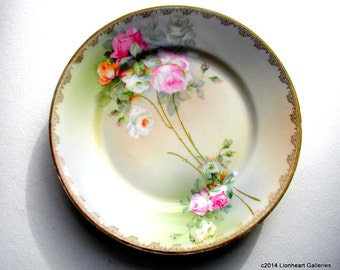 Romantic Bavarian Roses Vintage Floral Serving Plate Cabinet Plate 1920s