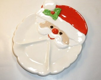VINTAGE SANTA Party Platter - 70's Hand Painted Ceramic,  Segmented  - Appetizers, Snacks, Condiments