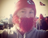 Fuzzy Beard In RED Hand Crochet, Beard and Mustache Only - Use With Any Beanie