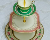Art Deco 3 Tier Vintage China Tea Stand for Weddings, Tea Parties, Displays, Showers, Jewelry Stand FREE shipping