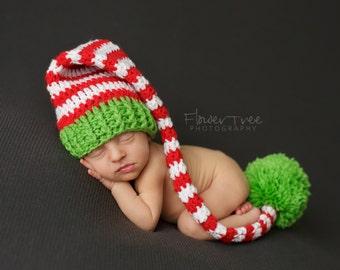 Newborn Santa Hat, Christmas Hat, Newborn Photo Prop, Striped Hat, Newborn Pom Pom Hat, Newborn Christmas Prop, Neutral Baby Hat, Santa Hat