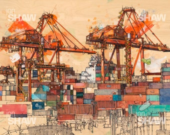 "Vancouver Shipping Cranes Art Print - 11"" x 14"" Reproduction Of Original Ink and Acrylic Painting"