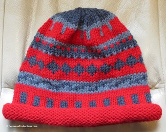 """Nordic Hand Knit Intarsia Grays on Red Roll Brim Unisex - One Size Fits Most Adults - 20""""- 24"""" - Winter Toboggan Clohe Chemo - Item 4193"""
