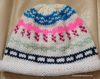 """Nordic Hand Knit Original Intarsia Hat - Cream Pink Turquoise Green - One Size Fits Most Adults 20""""-24""""- Year Round Fashion Hat - Item 4205"""