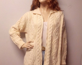 Vintage Cable Knit Fishermans Sweater Super Soft Merino Wool made in Ireland Sweater  Small