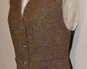 Women's vest, wool tweed, AC Ashworth & Company, two functional welt pockets, size 6, handmade, USA