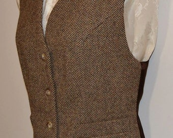 Women's vest, wool tweed, AC Ashworth & Company, two functional welt pockets all sizes, made to order