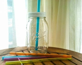 1 Quart Smoothie Mason Drinking Jar Regular Mouth with Lid and Straw Travel Cup BPA Free