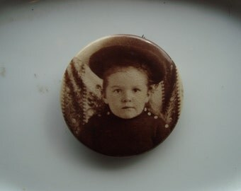 Vintage Photo Pin of a Girl in a Hat